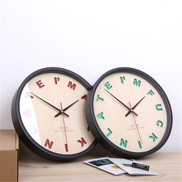 PINJEAS Fashion English Letter Decor Bedroom Wall Clocks Creative Super Mute Home Decorations Living Room Wooden Crafts