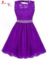 Jark Tozr More Color Choose Open Back Appliques Beading Crystal Above Knee Mini Cocktail Party Dresses