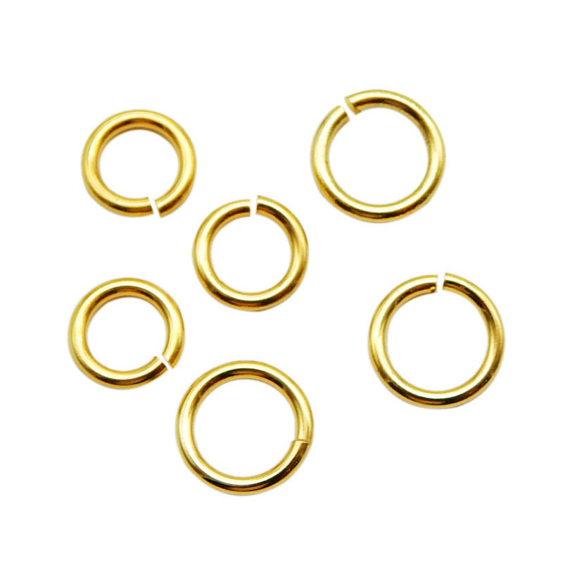 Aiovlo 100pcs/lot Gold Stainless Steel Open Jump Rings Direct 4/5/6mm Split Rings Connectors For DIY Ewelry Findings Making