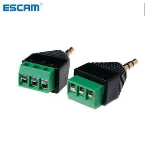ESCAM 3 шт., 3,5 мм, 1/8 дюйма, стерео штекер в AV, болт, видео, балун, разъем 3,5 мм, 3-контактный штекер, клеммный блок, разъем