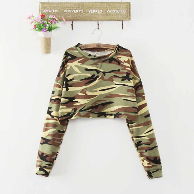 2017 nowe mody kobiet T koszula wiosna lato kamuflaż koszulki na co dzień luźne topy krótkie bluzki odzież z długim rękawem krótkie koszulki z krótkim rękawem AB109