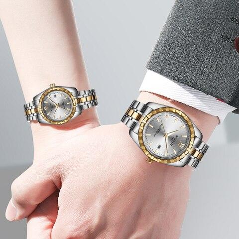 Fashion Women Watches Men Watch Luxury Gold Couple Watch Lover Sweet Waterproof Stainless Steel Clock relogio masculino reloj Lahore