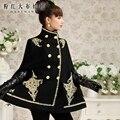 Dabuwawa 2016 invierno tallas grandes retro collar del soporte de lujo vintage capa escudo medio largo negro para las mujeres