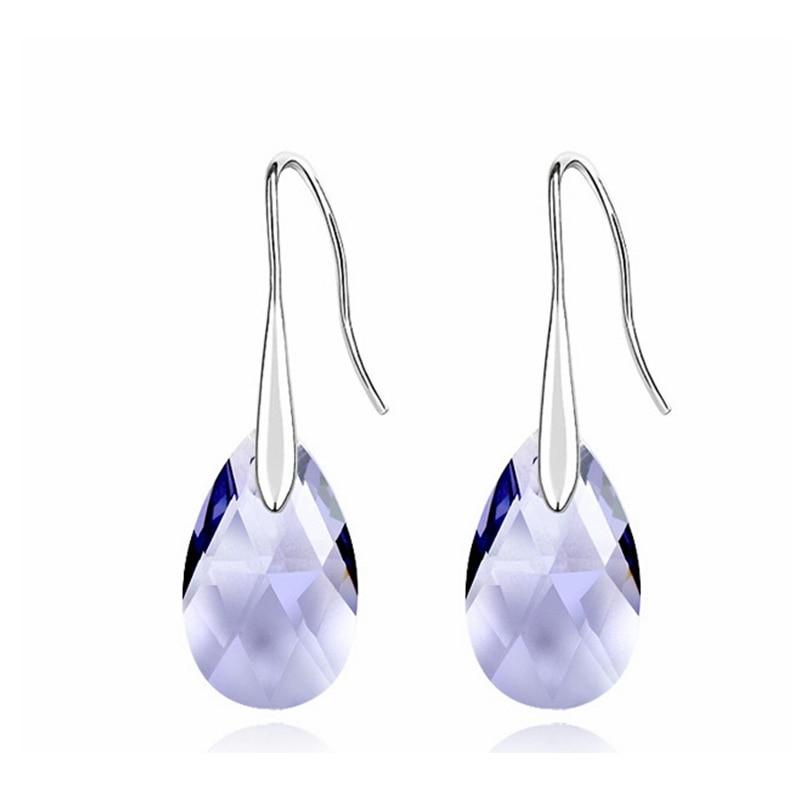 Labekaka, стразы, капли воды, серьги для женщин, модные, украшенные кристаллами Swarovski, висячие серьги, вечерние ювелирные изделия - Окраска металла: Purple