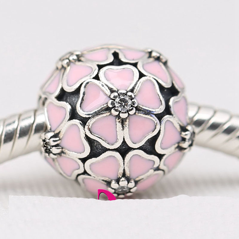 64c0945cd ... 2016 Spring Cherry Blossom Clip Charm Beads Fit Pandora 925 Sterling  Silver Pink Enamel Flower Stopper ...