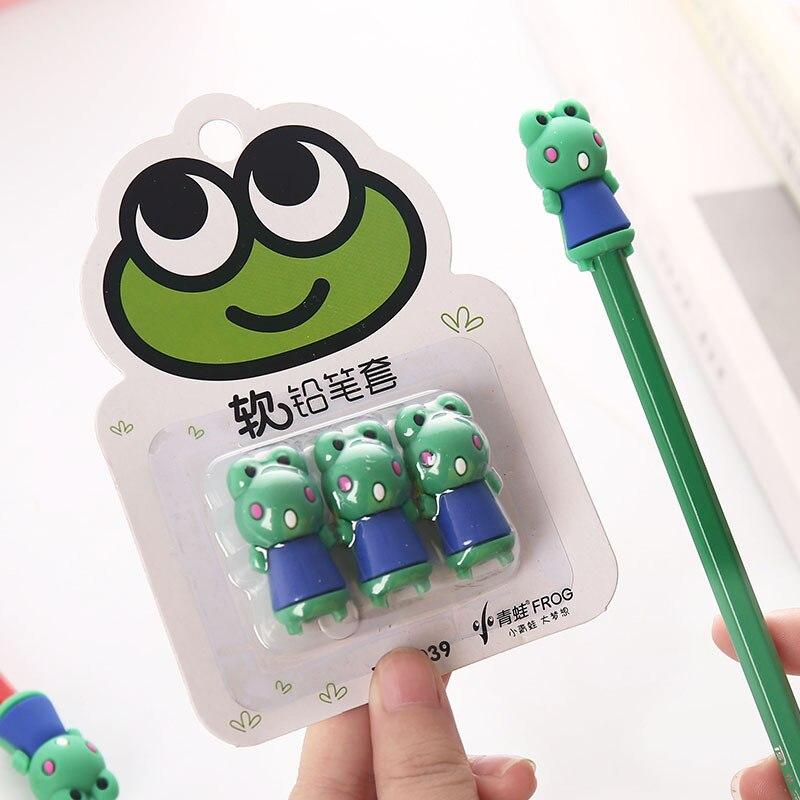 3 Pcs/pack Kawaii Cartoon Carrot Frog Chick Pencil Caps Protection Cap Pencil Extender Pen Grip Stationery Student Painting