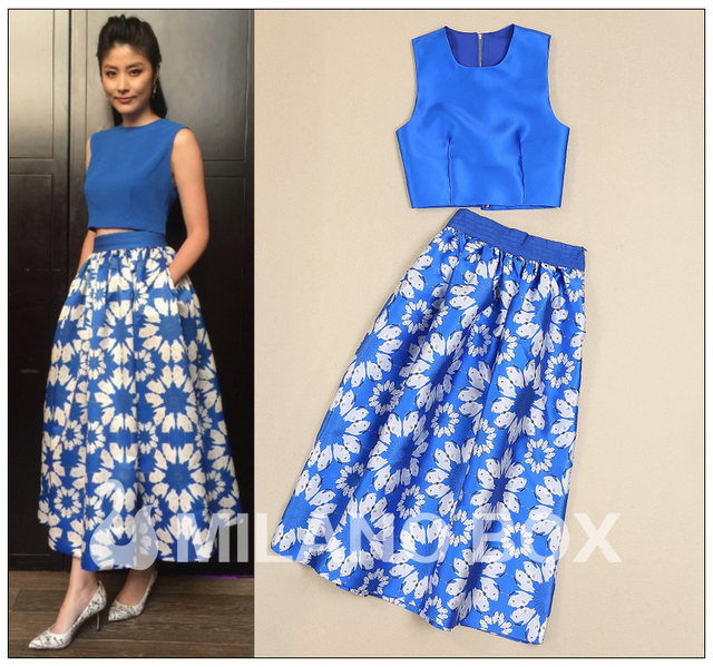 e9f706f9f16 2015 women summer brand runway fashion blue sleeveless short top + large  swing printed long skirt suit set casual 2 piece outfit