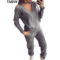 TAOVK женский шерстяной Теплый вязаный костюм спортивный костюм v-образный вырез пуловер свитер комплект брюки плюс размер трикотаж спортивн...