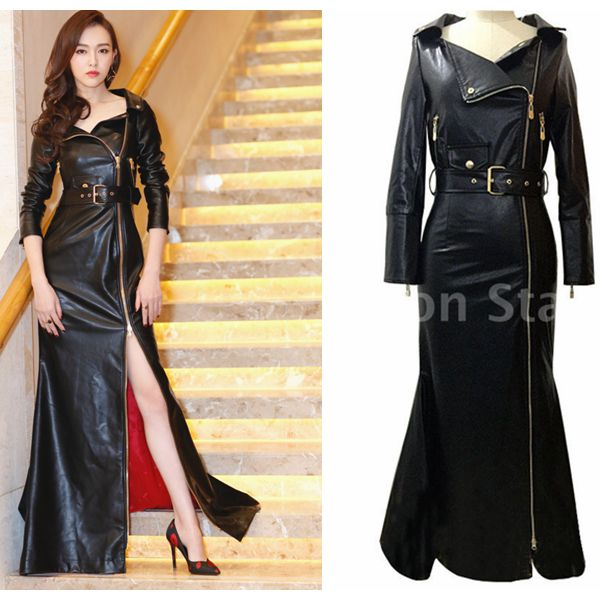Floor long design motorcycle PU   leather   clothing lacing women elegant Zipper dress asymmetrical overcoat zipper outerwear S10