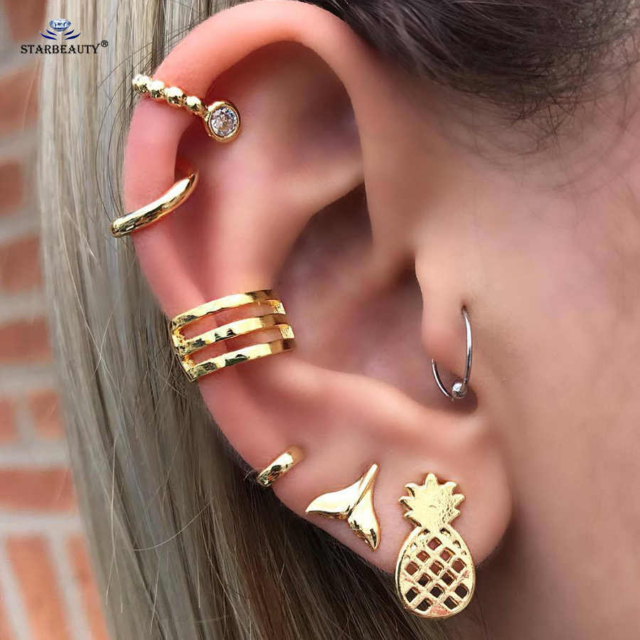 7 pcs/lot Fish Tail Ear Piercing Gold Pineapple Tragus Daith Earrings Set Helix Piercing Fake Earrings Fake Piercing Ear Jewelry