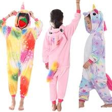 473bf7276 Winter Children Unicorn Pajamas Flannel Cartoon Animal Pink Licorne Onesie  Sleepers Pyjamas Kids Boys Halloween Costume JumpsuitUS $5.75 - 16.11
