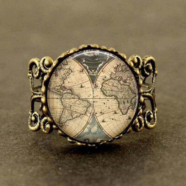 Movie alice in wonderland ancient world map explorer map pirate movie alice in wonderland ancient world map explorer map pirate treasure map expedition ring jewelry gumiabroncs Image collections