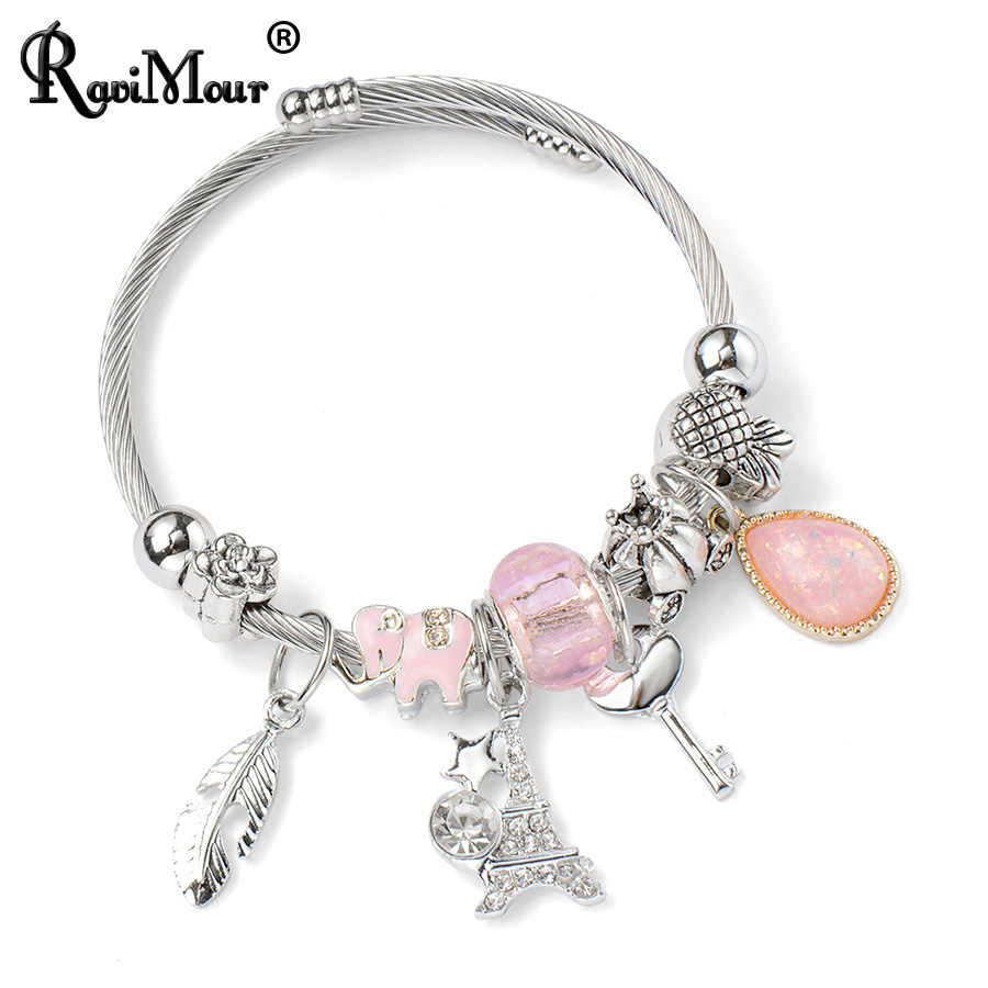 RAVIMOUR Cuff Bangles for Women Silver Leaf Tower Cable Wire Stainless Steel Brazalete Mujer Fashion Elephant Charms DIY Jewelry