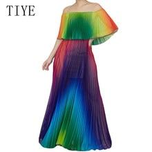 TIYE Chiffon Colorful Rainbow Off Shoulder Pleated Ruffle High Waist Maxi Dress Women 2019 Vintage Holiday Beach Summer Dress rainbow color maxi pleated dress page 1