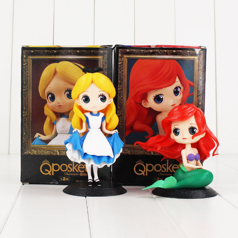 Boxed Q Posket Alice Alice in Wonderland Ariel The Little Mermaid PVC Figure Collectible Model font