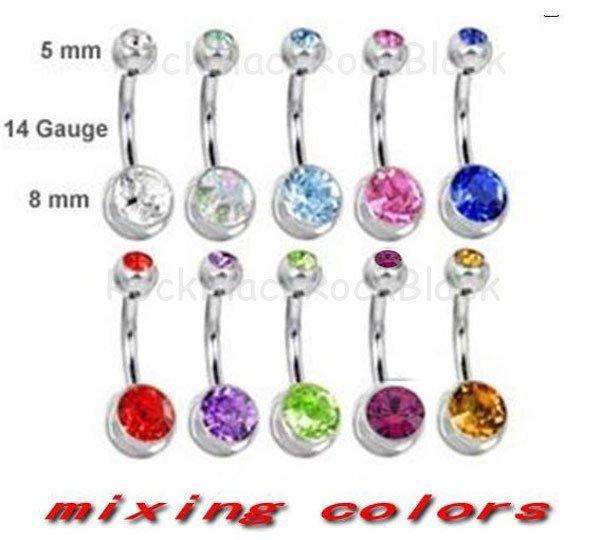 Us 25 16 Hot Selling 14g 1 6mm Dubbele Gem Belly Ring Navel Ring Mengen 10 Kleuren Lichaam Jewelrybnrbp00268 In Hot Selling 14g 1 6mm Dubbele Gem