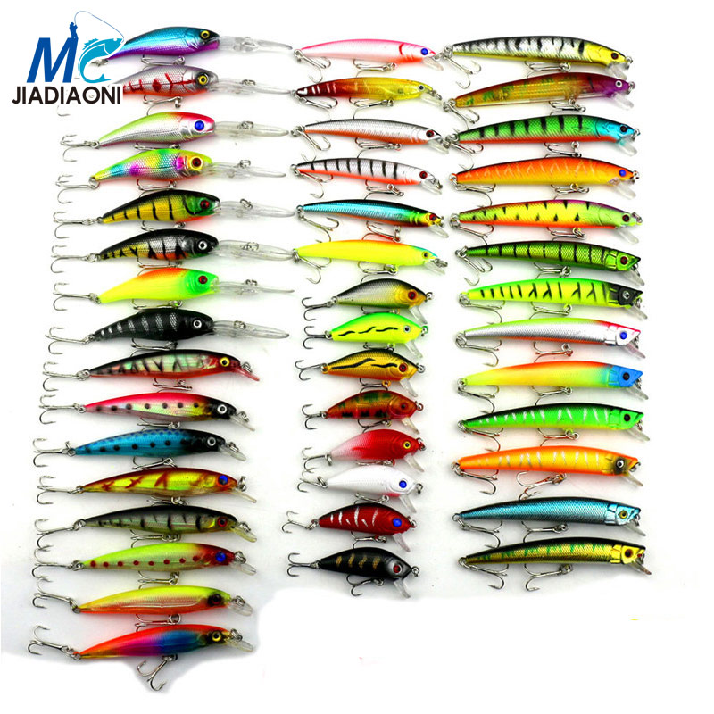 2017 Minnow JIADIAONI 43pcs/lot Fly Fishing Lure Set China Hard Bait Jia Lure Wobbler Carp 6 Models Fishing Tackle wholesale allblue new jerkbait professional 100dr fishing lure 100mm 15 8g suspend wobbler minnow depth 2 3m bass pike bait mustad hooks