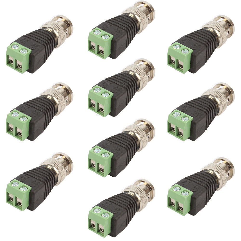 10Pcs/Lot High Quality BNC Connector Male Coax CAT5 to Camera Connector BNC Terminal For CCTV Camera T0.2 3m bnc male to bnc male cable for surveillance camera black