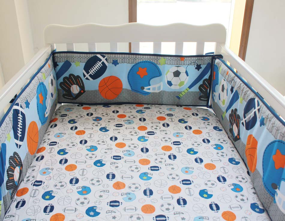 5pcs Baby Cot Bedding Sets Newborn Cot Bed Linen,Crib Bedding Set With Bumper Sheet ,include(4bumper+bed cover)