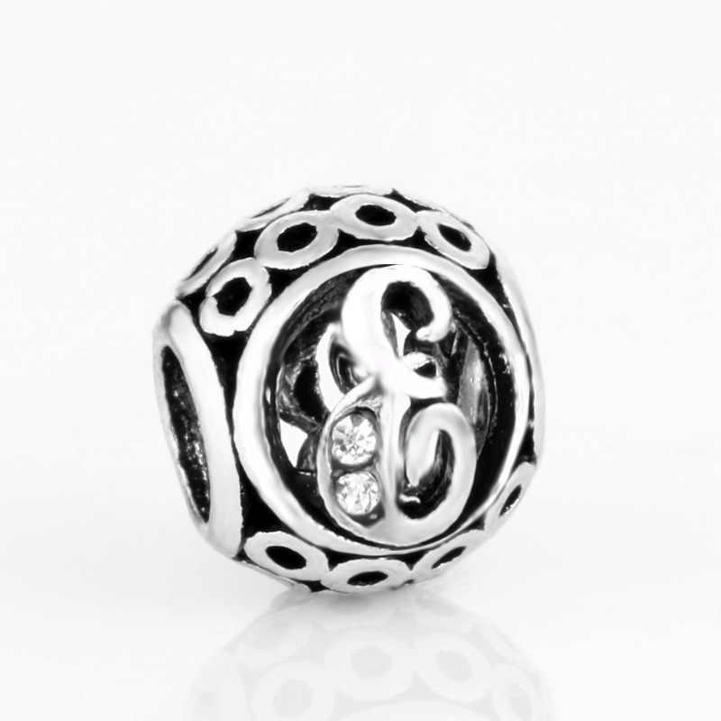 1pc silber farbe 26 Englisch runde Buchstaben Charme Perlen Fit Original Pandora Armbänder Halsketten Für Frauen Schmuck W008