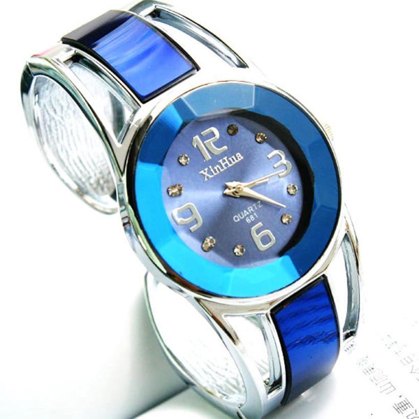 Blue Fashion Womens Alloy Band Quartz Analog Round Bracelet Watch Gift Female Ladies Wrist Watches Clock Female Dress H042510 fashion woman s zinc alloy band quartz analog waterproof wrist watch bracelet silver golden