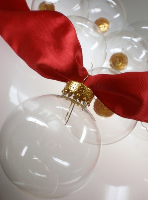 Promotion - DIY Paintable Clear Christmas Ornament Decoration 100mm Glass Ball With Gold Top, 4/Pack