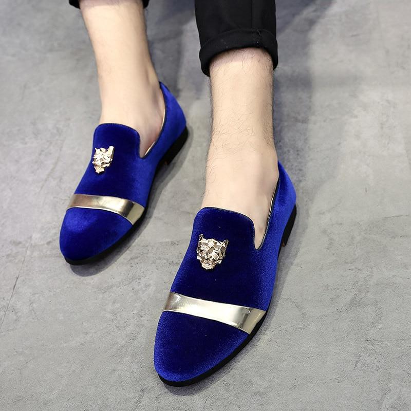 Noir Sur De Hommes Et Printemps Homme Métal Mode Velours Casual Mocassins Toe Fotr Slip Chaussures En bleu Automne Confortable Haut Or qxPg4HwP