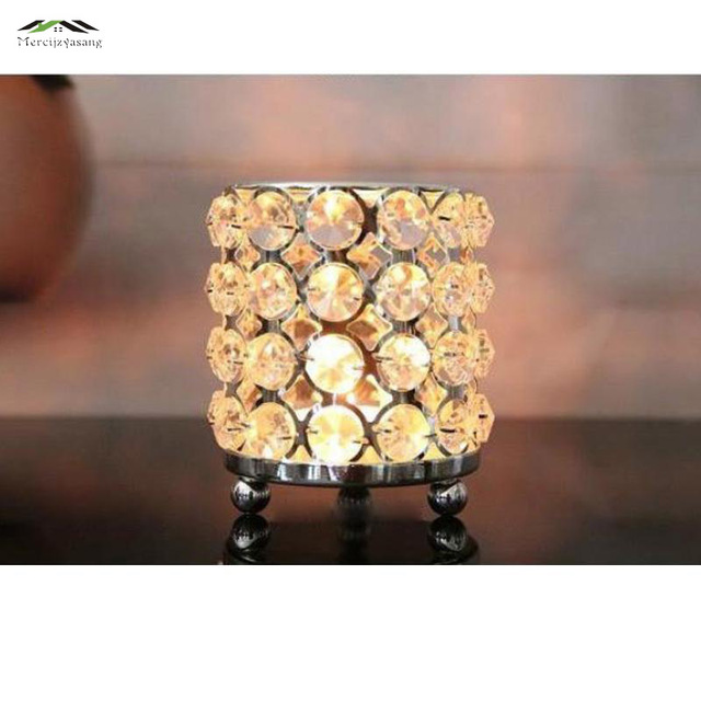 10pcs/lot New metal candle holders with crystals stand pillar silver plated Creative Romantic Europe for wedding decoration