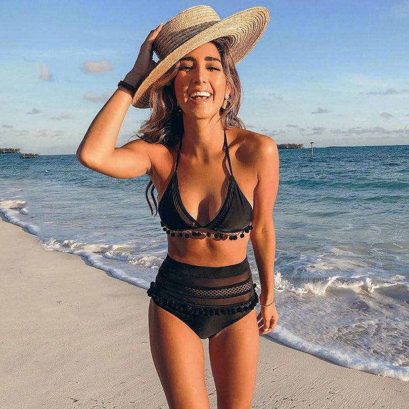 HTB1a7CtKeuSBuNjSsziq6zq8pXaB 2019 Sexy Halter Retro Mesh Hollow Out String Biquini Bathing Suit Female Swimsuit High Waist Plus Size Swimwear Women Bikini