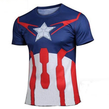 2016 brand new captain America short sleeve T-shirt Fashion men's short-sleeved summer news t-shirts wholesale and retail