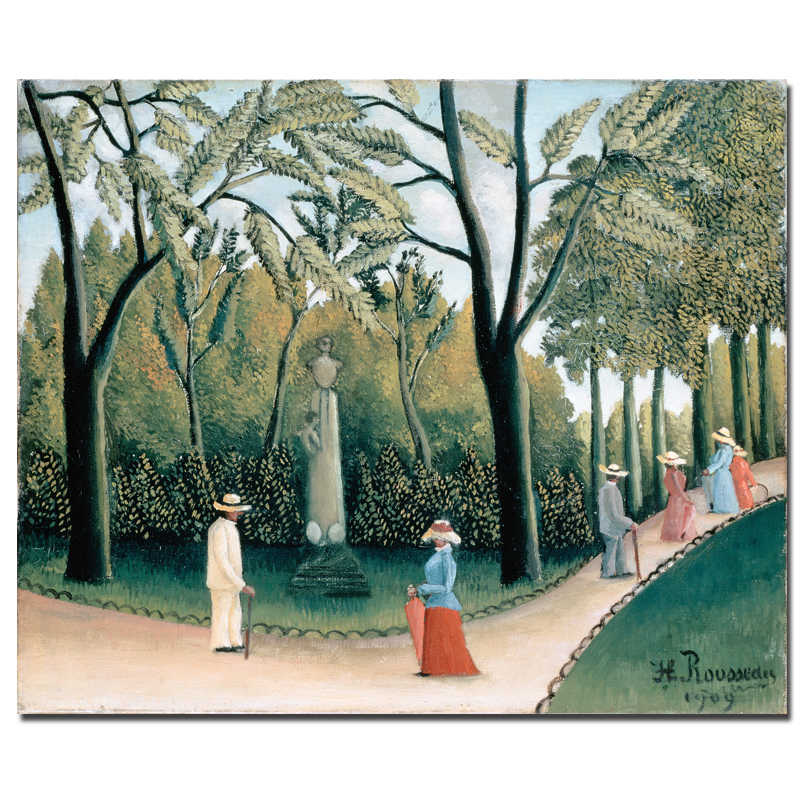 Chopin monument of Luxembourg Gardens By Henri Rousseau People Walking Painting Home Decoration Canvas Prints Wall Art
