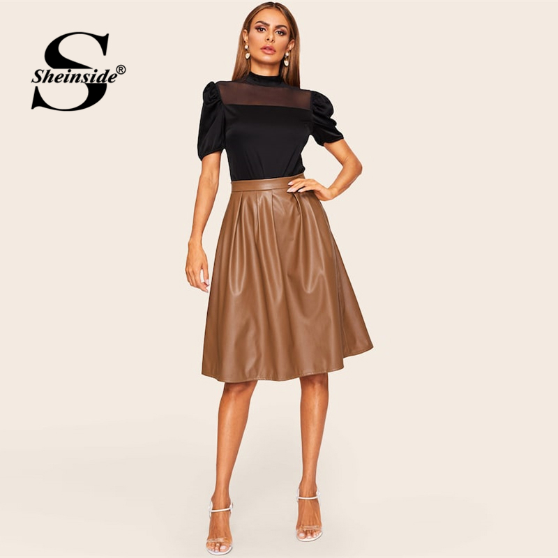 Image 3 - Sheinside Coffee Casual Mid Waist Pleated PU Leather Skirt Women 2019 Spring Solid A Line Skirts Ladies Minimalist Zipper Skirt-in Skirts from Women's Clothing