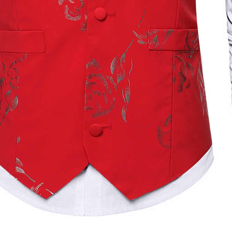 أسود البرنز روز الزهور طباعة دعوى سترة الرجال 2019 العلامة التجارية الجديدة صالح سليم واحدة الصدر صدرية سترة الرجال الأعمال الزفاف جيليه