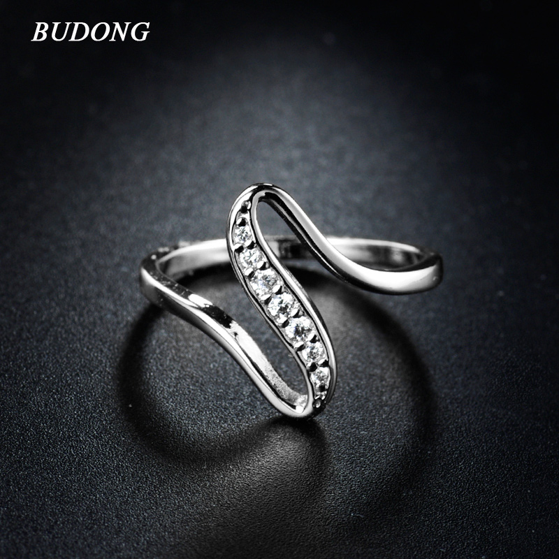 BUDONG Unique Infinity Ring for Women 2017 White Gold Color Round Brilliant Swa Crystal Ring Engagement Rings Jewelry XUR116