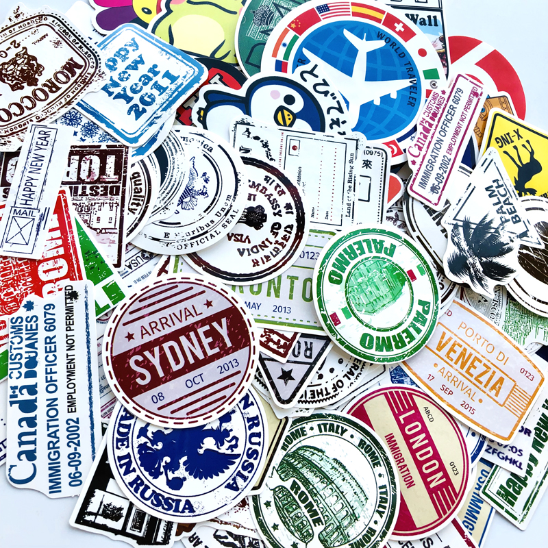 100pcs/lot Retro Traveling Boarding Pass Air Tickets Creative Stickers For Suitcase Laptop Luggage Bags Bike Phone PVC Sticker
