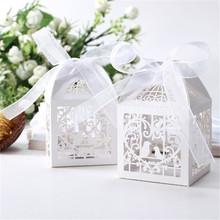 50 Pcs Wedding Party Boxes Love Bird Favor Candy Gift Box With Ribbon Hot Party Favors