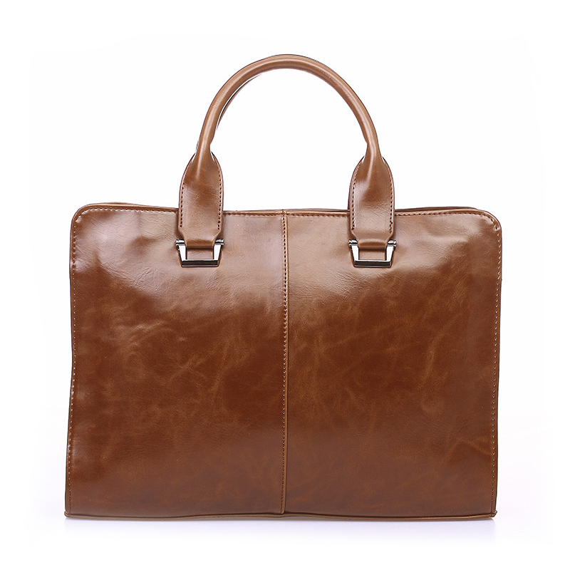 Vintage Briefcase for Men Dress Style Business Casual Bags Pu Leather Large Capacity Shoulder Bags Luxury Brand Laptop Pack