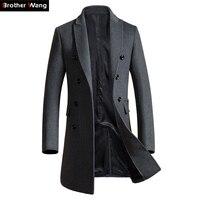 Brother Wang Brand 2018 Autumn Winter New Men Slim Long Woolen Coat Business Casual Fashion Mens Overcoat Jacket 1721