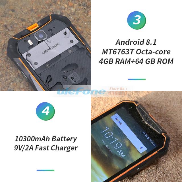 Ulefone Armor 3 IP68 Waterproof Mobile Phone 10300mAh 5.7″ FHD+ Octa Core 4GB+64GB helio P23 Android Global Version Smartphone