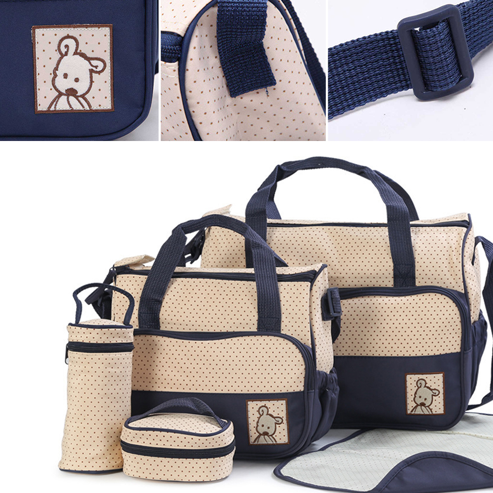 5pcs/Lot Baby Diaper Bags Set Maternity Nappy Organizer Mom Care Pad Bottle Food Bag Mummy Stroller Multifunctional Nappy Bags promotion diaper bags organizer storage mummy bags for mom baby bottle multifunctional