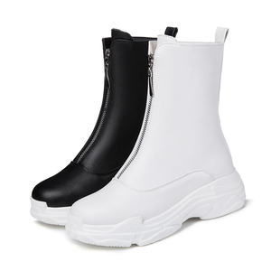 Image 2 - Women Front zipper Platform Boots Winter Shoes Ankle Boots Sneaker Brand quality Female Casual Shoes Sexy Boots Plus size 32 46