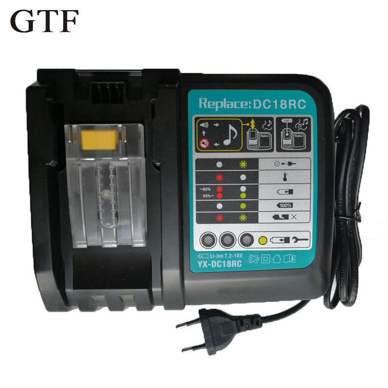 GTF Li-ion Battery Charger 3A 6A Charging Current for Makita 14.4V 18V BL1830 Bl1430 DC18RC DC18RA Power tool DC18RCT Charger dawupine dc18rct li ion battery charger 3a 6a charging current for makita 14 4v 18v bl1830 bl1430 dc18rc dc18ra power tool
