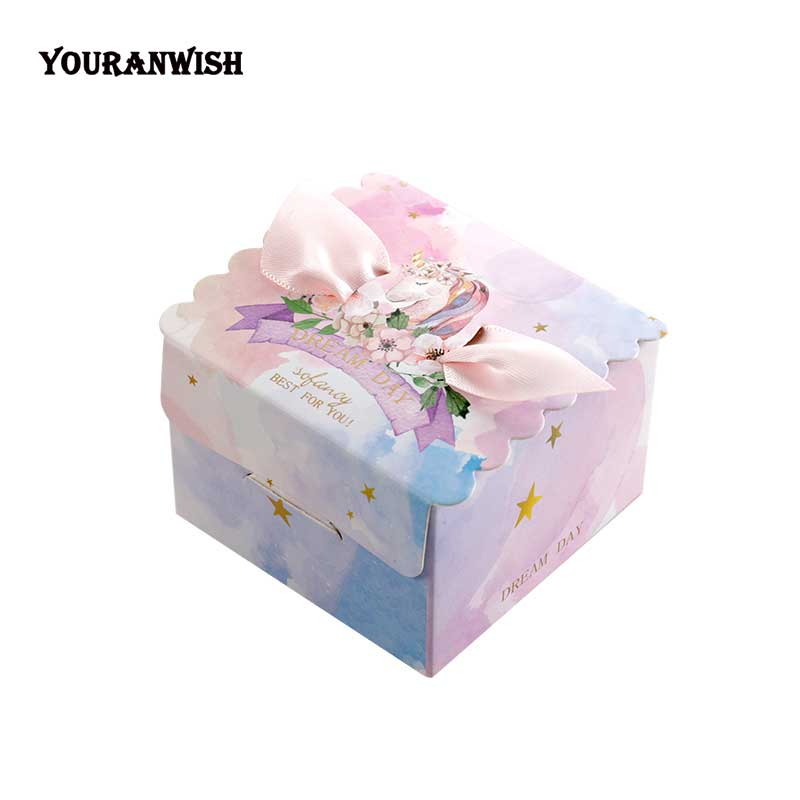 50pcs/lot Unicorn Paper Candy Box Square Marble Candy Boxes For Unicorn Party Baby Shower Birthday Gift Box With Wedding Favor