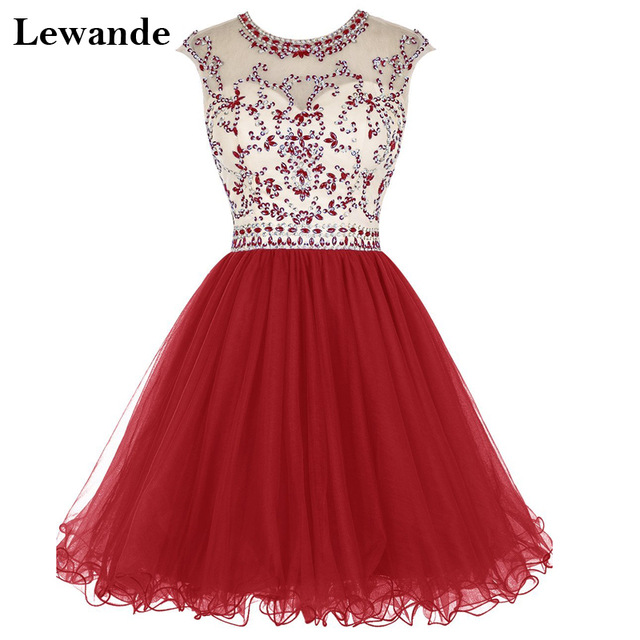 50a173b8cd8 Short Beading Tulle Homecoming Grade 8 Graduation Dresses Lewande Cap  Sleeve Open Back Sexy Pageant Prom Gown