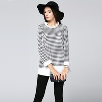 Plus Size Houndstooth Patchwork Long Blouses Women Elegant Office Casual Fashion Street Shirts 2019 Spring Lady Tops Clothing