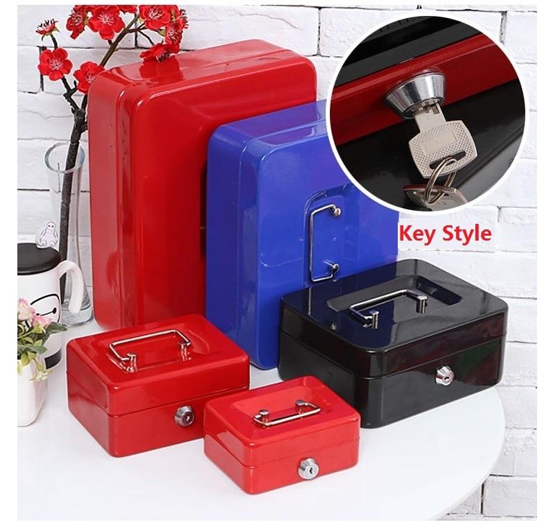 Steel Key Safe Cash Boxes Store Content Paper Piggy Bank Card A4 Document Large Boxes