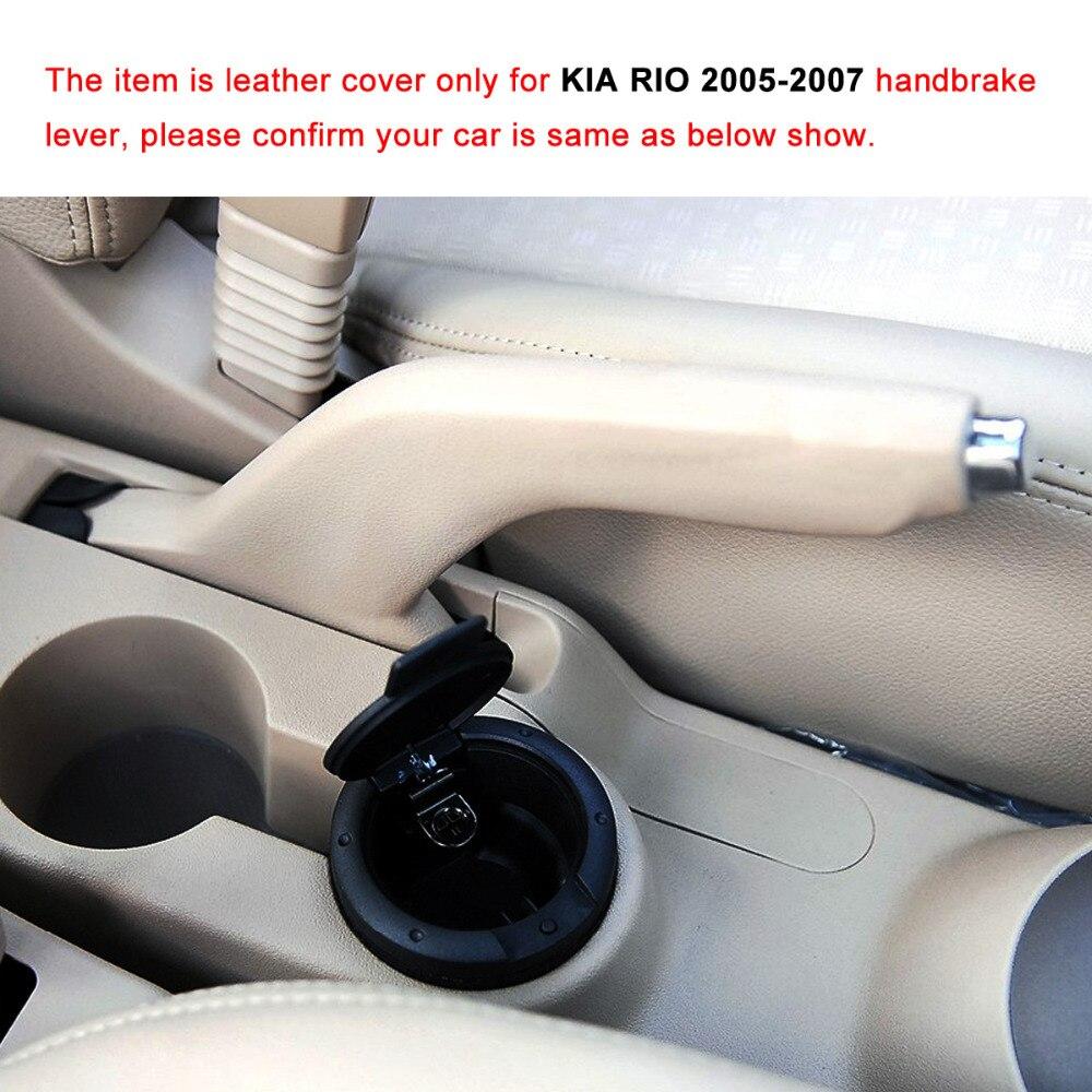 Yuji-Hong Car Handbrake Covers Case for KIA RIO 2005-2007 Auto Handbrake Grips Genuine Leather Cover Black