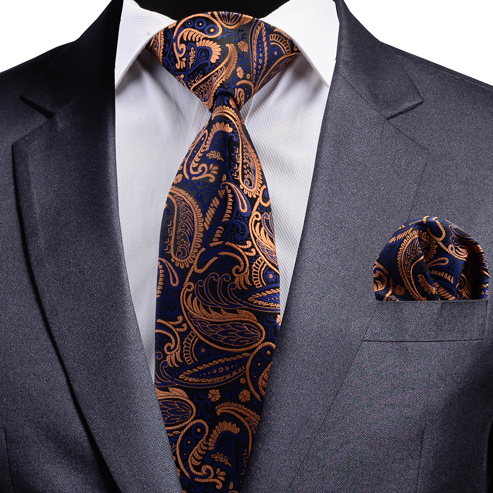 GUSLESON New Quality Floral Wedding Tie Fashion Plaid Striped Paisley Silk Necktie And Pocket Square Set For Party Business
