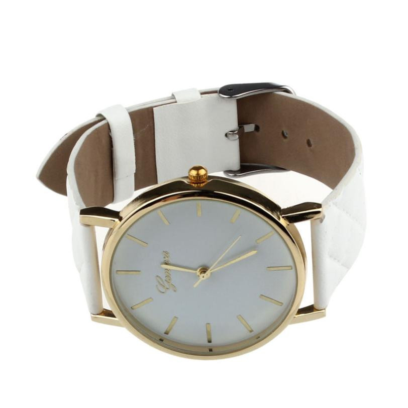 Checkers Faux Women Quartz Watch White
