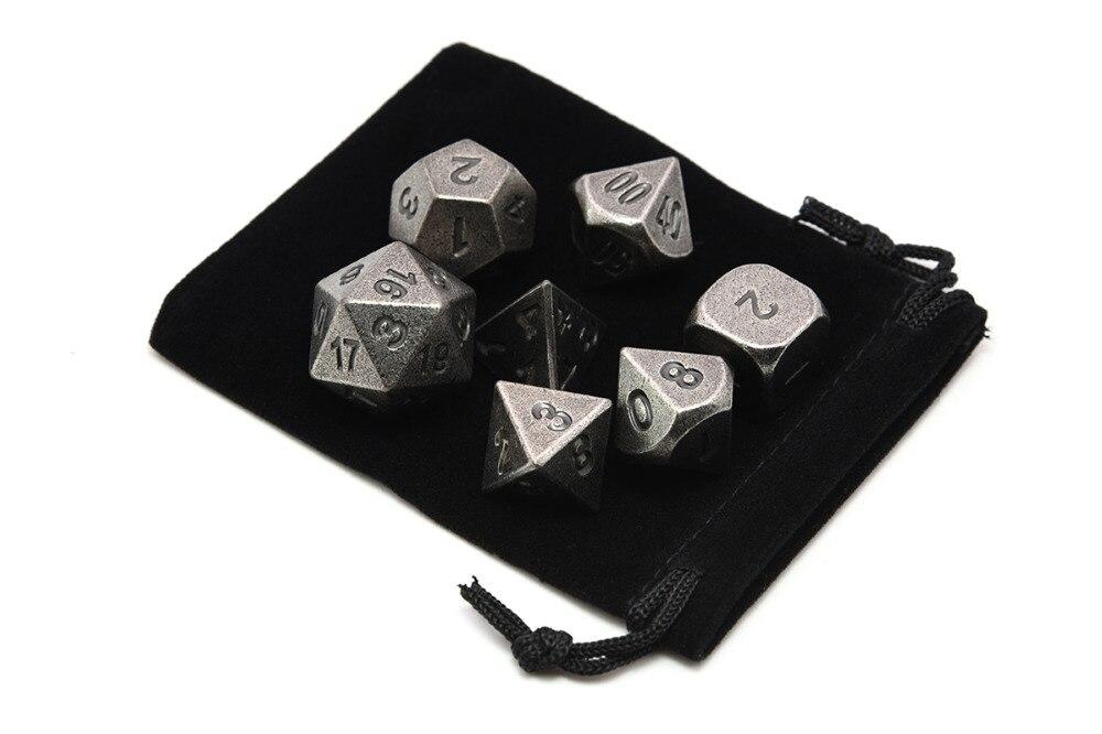 Jogo de dados de metal polyhedral de